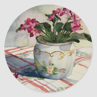 1790 African Violets in Blue Pot Classic Round Sticker