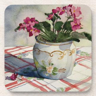 1790 African Violets in Blue Pot Drink Coaster