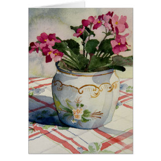 1790 African Violets in Blue Pot Greeting Card