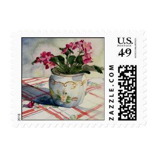 1790 African Violets in Blue Pot Postage