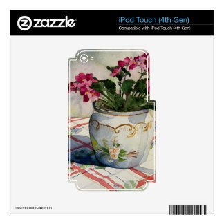 1790 African Violets in Blue Pot Skins For iPod Touch 4G