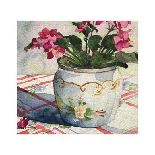 1790 African Violets Wrapped Canvas Print