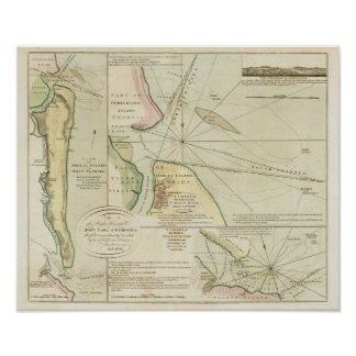 1790 carta los ríos de St Mary y de Nassau Póster