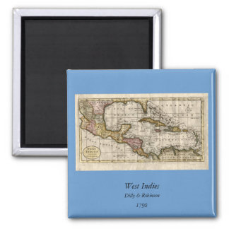 1790 Map of The West Indies by Dilly and Robinson 2 Inch Square Magnet