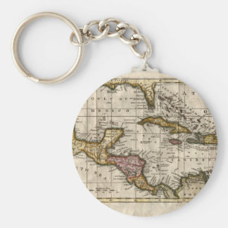 1790 Map of The West Indies by Dilly and Robinson Basic Round Button Keychain