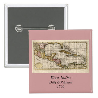 1790 Map of The West Indies by Dilly and Robinson Pin