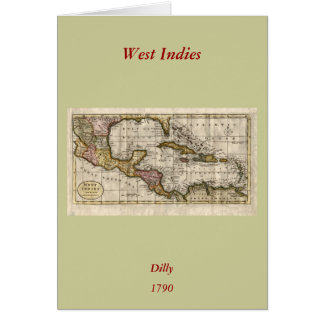 1790 Map of The West Indies by Dilly and Robinson Greeting Cards