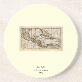 1790 Map of The West Indies by Dilly and Robinson Coasters