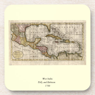 1790 Map of The West Indies by Dilly and Robinson Drink Coasters