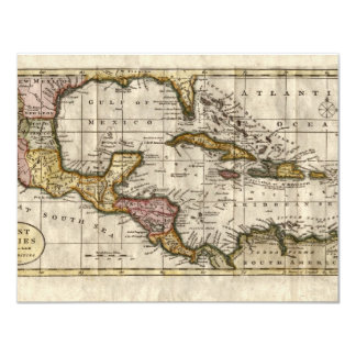 1790 Map of The West Indies by Dilly and Robinson 4.25x5.5 Paper Invitation Card