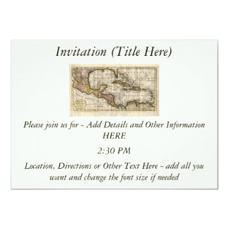 "1790 Map of The West Indies by Dilly and Robinson 4.5"" X 6.25"" Invitation Card"