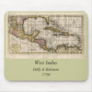 1790 Map of The West Indies by Dilly and Robinson Mouse Mats