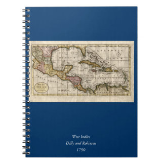 1790 Map of The West Indies by Dilly and Robinson Spiral Note Books