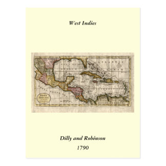 1790 Map of The West Indies by Dilly and Robinson Postcard