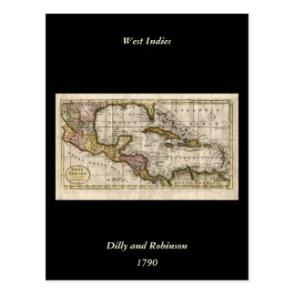 1790 Map of The West Indies by Dilly and Robinson Post Card