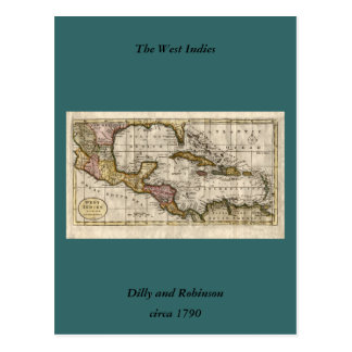 1790 Map of The West Indies by Dilly and Robinson Postcards