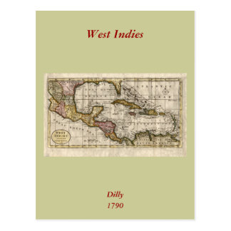 1790 Map of The West Indies by Dilly and Robinson Post Cards