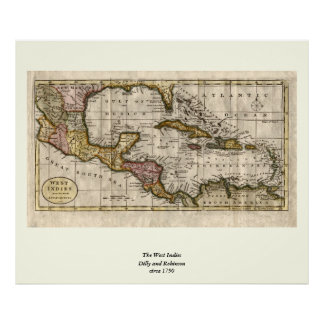 1790 Map of The West Indies by Dilly and Robinson Posters