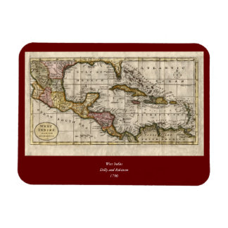 1790 Map of The West Indies by Dilly and Robinson Rectangle Magnet