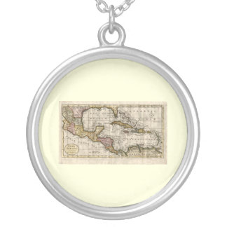 1790 Map of The West Indies by Dilly and Robinson Round Pendant Necklace