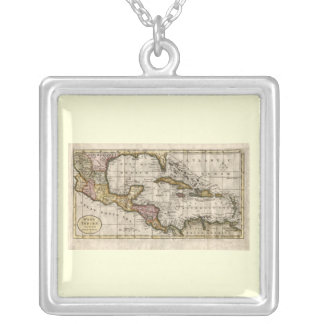 1790 Map of The West Indies by Dilly and Robinson Silver Plated Necklace