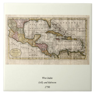 1790 Map of The West Indies by Dilly and Robinson Ceramic Tiles