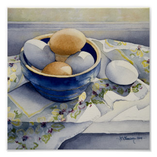 1791 Eggs in Blue Bowl Art Print