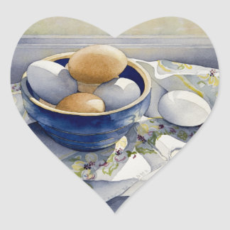 1791 Eggs in Blue Bowl Heart Sticker