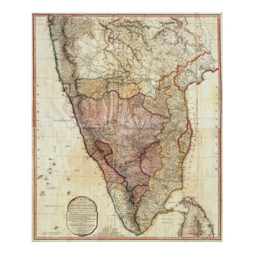 1793 William Faden Wall Map of India Print