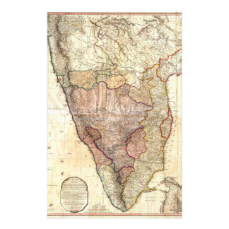 1793 William Faden Wall Map of India Stationery