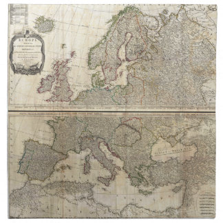 1794 D'Anville Two Panel Wall Map of Europe Napkin