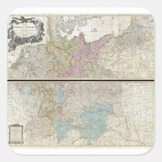 1794 Delarochette Map of the Empire of Germany Square Sticker
