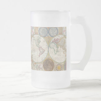1794 Double Hemisphere Map Frosted Glass Beer Mug