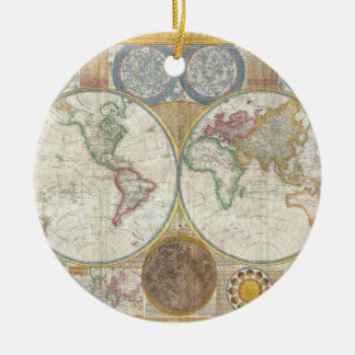 1794 Double Hemisphere Map Double-Sided Ceramic Round Christmas Ornament