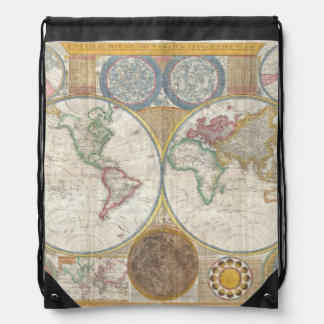 1794 Double Hemisphere Map Cinch Bag