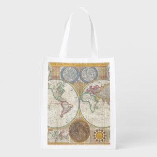 1794 Double Hemisphere Map Grocery Bag