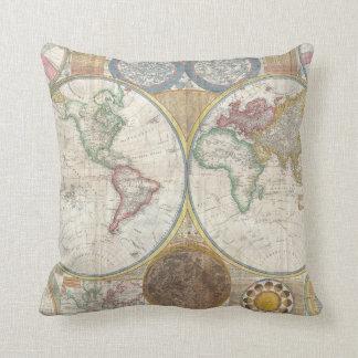 1794 Double Hemisphere Wall Map Throw Pillow