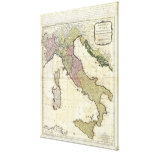 1794 Jean Baptiste Bourguignon D'Anville Italy Map Stretched Canvas Print