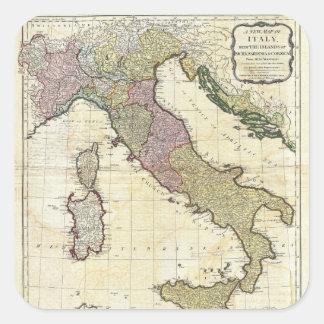 1794 Jean Baptiste Bourguignon D'Anville Italy Map Square Sticker