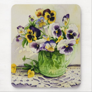 1794 Pansies in Green Glass Pitcher Mouse Pad