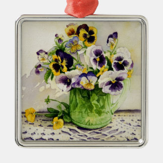 1794 Pansies in Green Glass Pitcher Square Metal Christmas Ornament