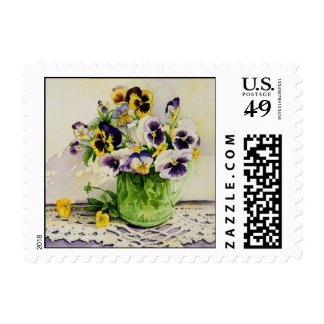 1794 Pansies in Green Glass Pitcher Postage