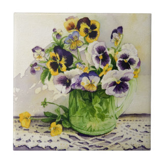 1794 Pansies in Green Glass Pitcher Tile