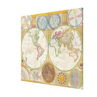 1794 Samuel Dunn Map of the World in Hemispheres Canvas Print