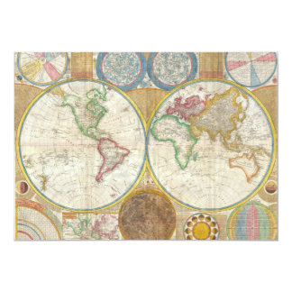 1794 Samuel Dunn Map of the World in Hemispheres 5x7 Paper Invitation Card