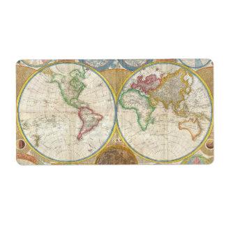 1794 Samuel Dunn Map of the World in Hemispheres Label