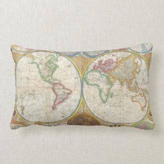 1794 Samuel Dunn Map of the World in Hemispheres Lumbar Pillow