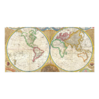 1794 Samuel Dunn Map of the World in Hemispheres Photo Card