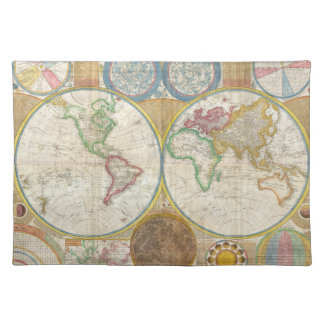 1794 Samuel Dunn Map of the World in Hemispheres Placemat
