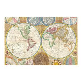 1794 Samuel Dunn Map of the World in Hemispheres Stationery